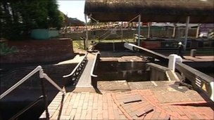 The narrow bridge at Stourbridge Basin where the boy fell off his bike and into the water