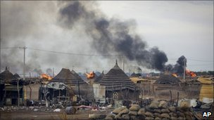 In this photo provided by the United Nations Mission in Sudan (UNMIS), homes burn in the center of Abyei town, Sudan - 28 May 2011
