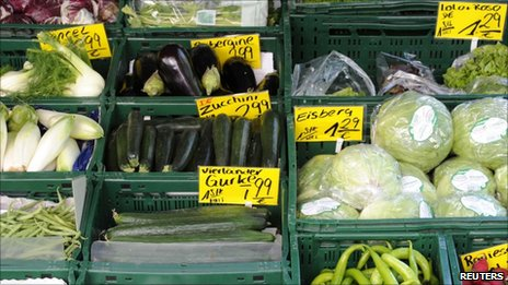 Vegetables on sale in Hamburg, Germany, on 3/6/11