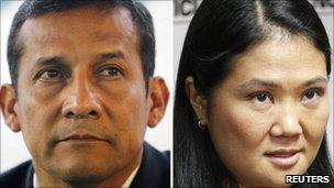 Peruvian presidential candidates, (from left) Ollanta Humala and Keiko Fujimori
