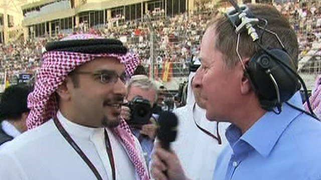 The crown prince of Bahrain talks to BBC Sport's Martin Brundle in 2010
