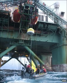 Last week protesters hung from the underside of the rig