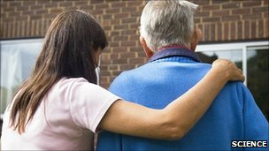 Care home worker with resident