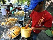 A street food vendor in Jakarta