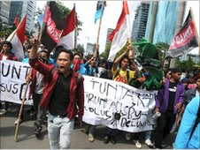 Anti-corruption protestors in Jakarta