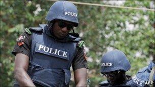 Nigeria police on a patrol in Kaduna in northern Nigeria