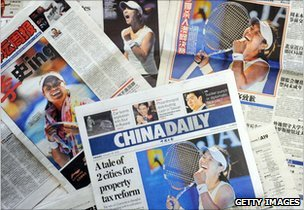 Li Na's image on various Chinese newspapers