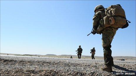 British troops on patrol in Gereshk, Afghanistan