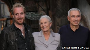 Rhys Ifans, Vanessa Redgrave and Director Roland Emmerich at the Columbia Pictures' Anonymous. Photo Call at the legendary Studio Babelsberg on April 29, 2010 in Berlin, Germany. (Photo by Christian Schulz)