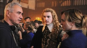 Director Roland Emmerich, Xavier Samuel and Tamara Harvey on the set of Columbia Pictures' Anonymous