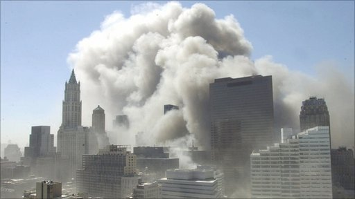 Collapse of one of the World Trade Center twin towers on September 11th 2001