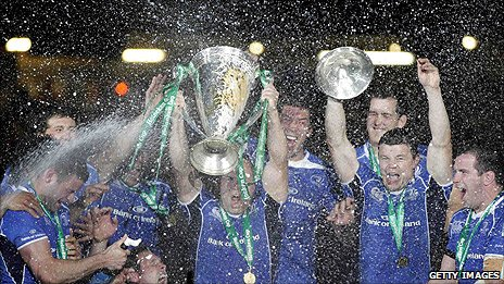 Leinster celebrate victory over Northampton in Cardiff last month