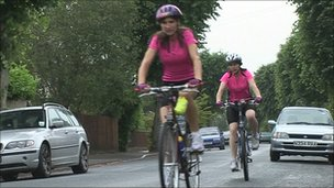 Jenny Dale and her sister training for the ride to Paris