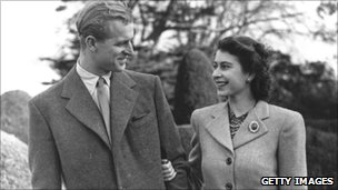The Duke of Edinburgh and the then Princess Elizabeth