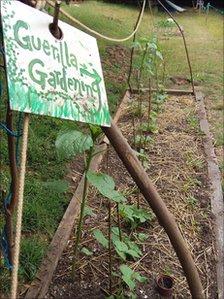 Guerrilla gardening sign