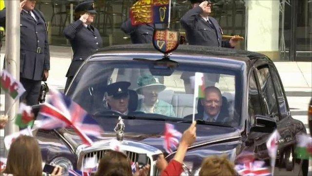 The Queen arrives at the Senedd