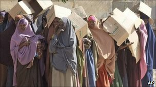 Somali women wait to receive food rations in Mogadishu. Photo: February 2011