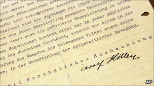 A detail of a letter written by Adolf Hitler is photographed, 7 June 2011 in New York