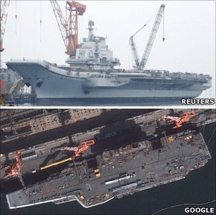 China&#039;s aircraft carrier is seen under construction in Dalian, Liaoning province (April 2011) (above) and on Google Maps (below)