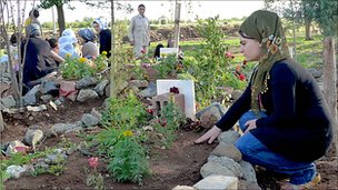 Kurdish women tend the graves of PKK fighters