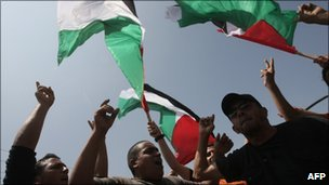 Palestinians wave their national flag at a demonstration in Gaza