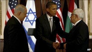 President Obama greeting Palestinian President Mahmoud Abbas and Israeli Prime Minister Benjamin Netanyahu last September