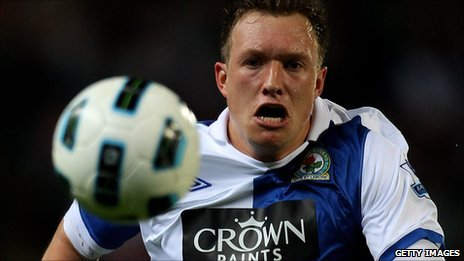 Phil Jones in action for Blackburn