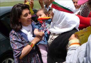 Leyla Zana (head uncovered)  meets supporters