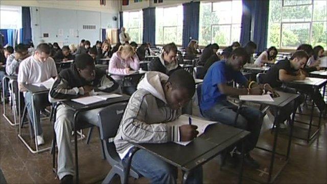 Pupils taking exams