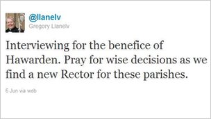 Screengrab of a Twitter message sent by the Bishop of St Asaph