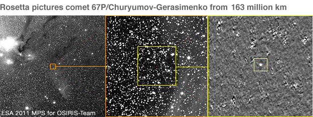 Magnification on star field where Comet Churyumov-Gerasimenko is hidden