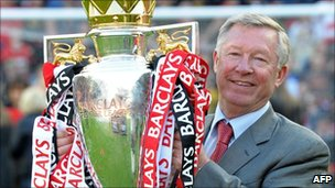 Sir Alex Ferguson with Premier League trophy