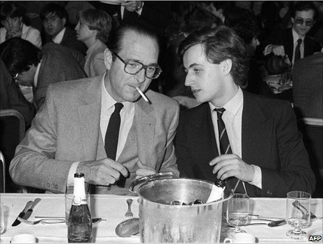 Paris Mayor Jacques Chirac with a young Nicolas Sarkozy, 24 March 1981