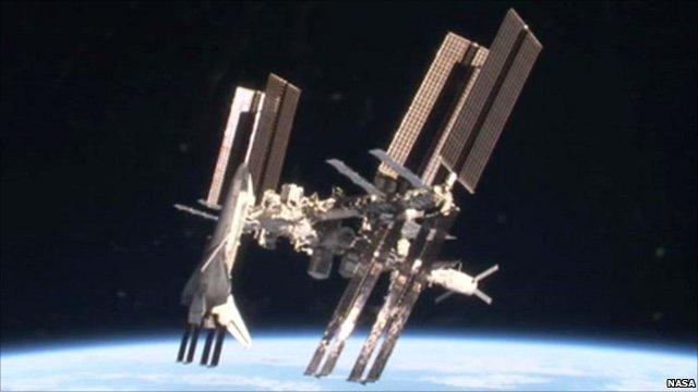 Shuttle docked