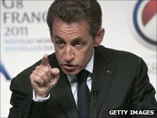 Nicolas Sarkozy giving speech at e-G8 forum in Paris
