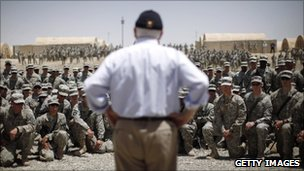 Robert Gates speaking to Soldiers in Afghanistan