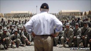 Robert Gates speaking to Soldiers in Afghanistan