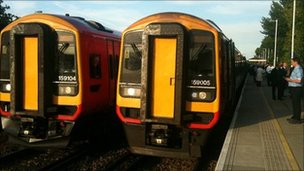 Stationary South West trains