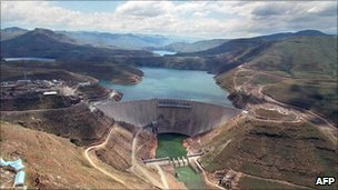 Lesotho's Katse Dam, part of the Lesotho Highlands Water Project, carries water to South Africa