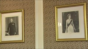 Portraits of Prince Charles and the Queen Mother in Belfast city hall