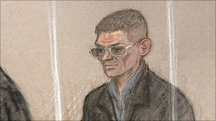 Court drawing of Nigel Leat