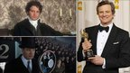 Colin Firth as Darcy in Pride and Prejudice (top left), as George VI in The King's Speech (top bottom) and with the Academy Award he won earlier this year