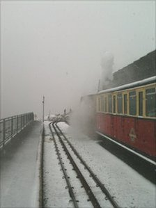 Snowdon under 'snow' in June
