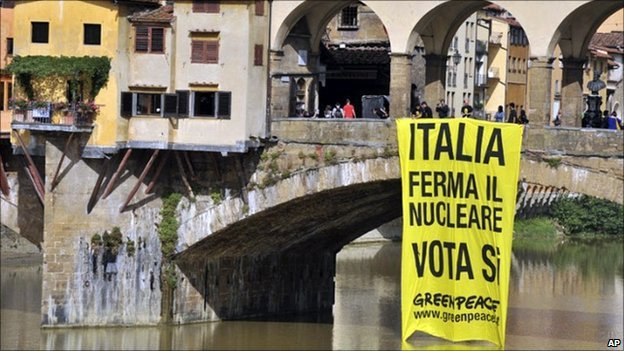 A Greenpeace sign hangs from Florence's Pontevecchio bridge