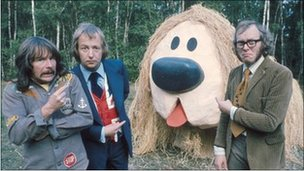 OBEs Tim Brooke-Taylor (C) and Graeme Garden (R), with Bill Oddie (L) in The Goodies