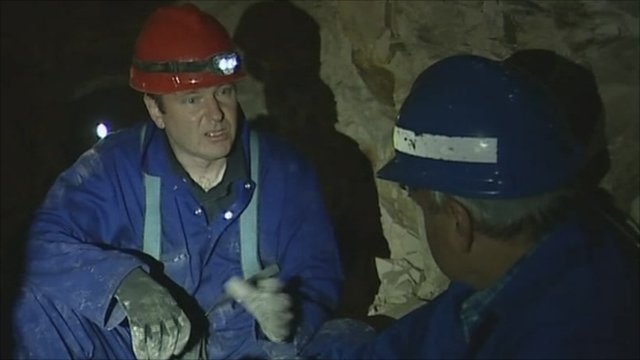 Military historian Simon Jones with Robert Hall in the tunnels under La Boiselles