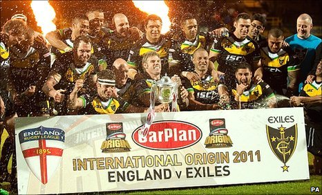 Exiles celebrate their win over England