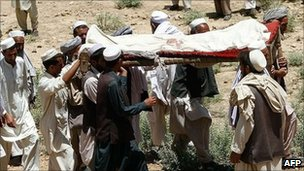Funeral for nine people killed in attack on wedding party blamed on Taliban insurgents in Nangarhar province - 9 June 2011