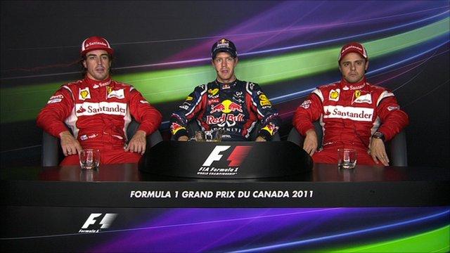 Fernando Alonso (l), Sebastian Vettel (c) and Felipe Massa (r)