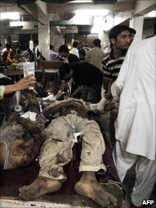 Hospital in Peshawar after the explosions (12 June 2011)